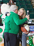 North Texas Mean Green head coach, Karen Aston, receives an award for 100 wins after the game between the Louisiana Lafayette Ragin' Cajuns and the University of North Texas Mean Green at the North Texas Coliseum,the Super Pit, in Denton, Texas. UNT defeats Louisiana Lafayette 78 to 40....