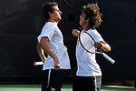WINSTON SALEM, NC - MAY 22: Borna Gojo and Skander Mansouri of the Wake Forest Demon Deacons celebrate their doubles victory against the Ohio State Buckeyes during the Division I Men's Tennis Championship held at the Wake Forest Tennis Center on the Wake Forest University campus on May 22, 2018 in Winston Salem, North Carolina. (Photo by Jamie Schwaberow/NCAA Photos via Getty Images)