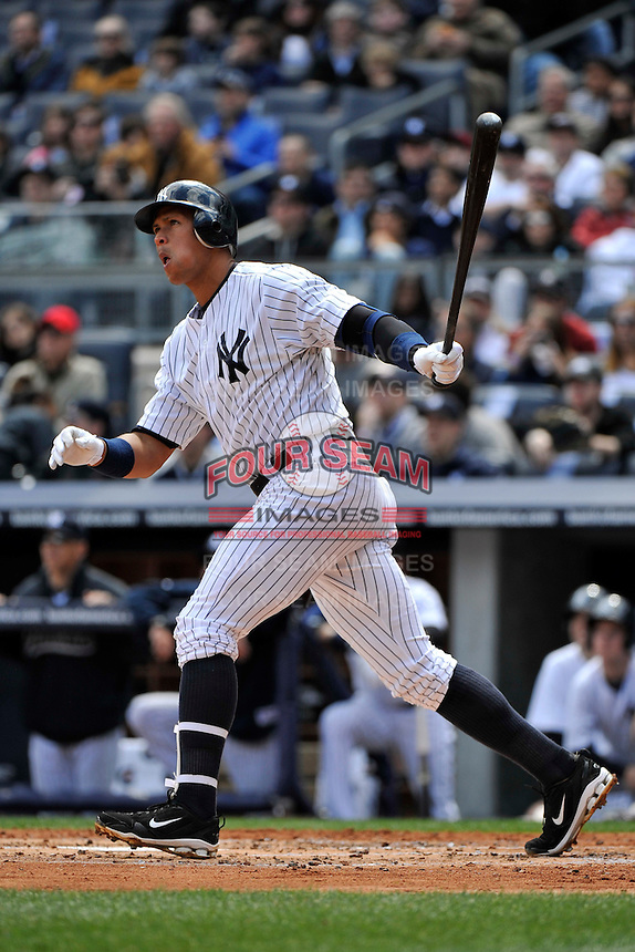 Apr 03, 2011; Bronx, NY, USA; New York Yankees infielder Alex Rodriguez (13) during game against the Detroit Tigers at Yankee Stadium. Tigers defeated the Yankees 10-7. Mandatory Credit: Tomasso De Rosa