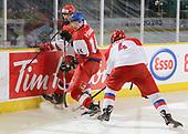 Dawson Creek, BC - Dec 14 2019: Game 12 Semifinal - Russia vs Czech Republic at the 2019 World Junior A Championship at the ENCANA Event Centre in Dawson Creek, British Columbia, Canada. (Photo by Matthew Murnaghan/Hockey Canada)