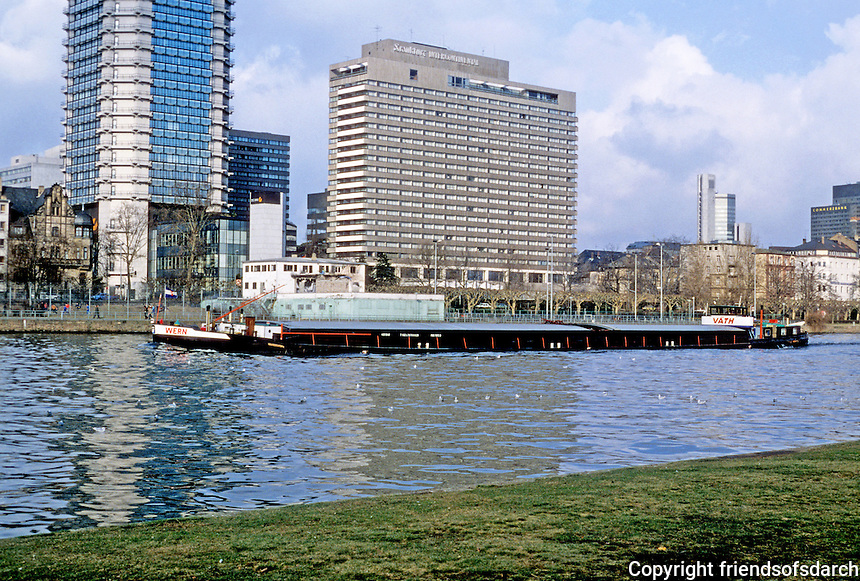 Frankfurt: Skyline view from river--Banking Quarter and barge. Photo '87.