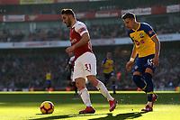 Sead Kolasinac of Arsenal and Jan Bednarek of Southampton during Arsenal vs Southampton, Premier League Football at the Emirates Stadium on 24th February 2019