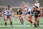 San Diego, CA 04/19/10 - Hannah Bettencourt (Torrey Pines #3), Caroline Boucher (Torrey Pines #11), Amy Syvrud (La Costa Canyon #6) and Emily Marquis (La Costa Canyon #4) in action during the Torrey Pines-La Costa Canyon Girls Lacrosse game at Torrey Pines.