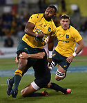 Wallabies player Tevita Kuridrani gets caught during the Rugby Championship match between Australia and Argentina in Canberra on September 16, 2017. AFP PHOTO / MARK GRAHAM --- IMAGE RESTRICTED TO EDITORIAL USE - STRICTLY NO COMMERCIAL USE --