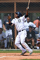 Detroit Tigers Derek Hill (39) during a minor league spring training game against the Houston Astros on March 25, 2015 at Tiger Town in Lakeland, Florida.  (Mike Janes/Four Seam Images)
