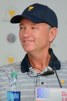 Davis Love III (USA) listens to a question during round 1 player selection for the 2017 President's Cup, Liberty National Golf Club, Jersey City, New Jersey, USA. 9/27/2017.<br /> Picture: Golffile | Ken Murray<br /> <br /> <br /> All photo usage must carry mandatory copyright credit (© Golffile | Ken Murray)