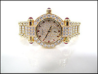 BNPS.co.uk (01202 558833)<br /> Pic: SheffieldAuctionGallery/BNPS<br /> <br /> ***Please use full byline***<br /> <br /> Chopard; An 18ct Gold Imperiale Diamond Set Lady's Wristwatch<br /> <br /> A &pound;110,000 haul of jewellery seized from the ringleader of a &pound;26million tobacco smuggling operation is to go under the hammer.<br /> <br /> The collection includes a luxurious 9-carat diamond ring valued at &pound;40,000 and four jewel-encrusted designer wristwatches collectively worth &pound;30,000.<br /> <br /> Also among the 30 lots are an &pound;8,000 4.5 carat single stone ring, large 7-carat ear studs worth &pound;15,000 and a bizarre solid gold baby's dummy worth &pound;500.<br /> <br /> The items were confiscated from Daniel Harty, the mastermind of a criminal gang jailed for smuggling 150 million cigarettes and two tonnes of low quality tobacco into the UK.<br /> <br /> Harty created a distribution network around the north of England transporting cigarettes to warehouses, storage yards and farms.<br /> <br /> Between them they evaded paying &pound;26million of duty.<br /> <br /> Harty, 30, from Doncaster, Yorks, was jailed in June last year for four and a half years after pleading guilty to conspiracy to evade excise duty.<br /> <br /> The jewellery was seized from Harty on his arrest in early 2011 under the Proceeds of Crime Act. A judge ordered it should be sold to satisfy a &pound;330,000 confiscation order.<br /> <br /> The auction is being held at Sheffield Auction Gallery on March 21.