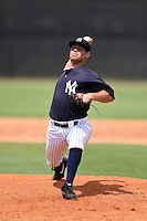 GCL Yankees 1 pitcher Travis Hissong (88) delivers a pitch during the second game of a doubleheader against the GCL Braves on July 1, 2014 at the Yankees Minor League Complex in Tampa, Florida.  GCL Braves defeated the GCL Yankees 1 by a score of 3-1.  (Mike Janes/Four Seam Images)