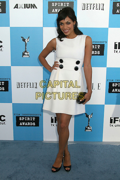 ROSARIO DAWSON.2007 Film Independent's Spirit Awards at the Santa Monica Pier, Santa Monica, California, USA,.24 February 2007..full length white dress black buttons hand on hip.CAP/ADM/BP.©Byron Purvis/AdMedia/Capital Pictures.