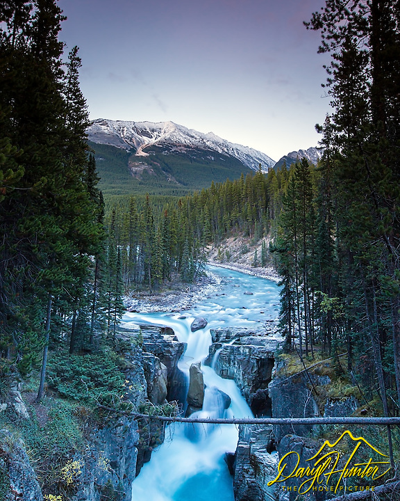 Sunwapta Falls at sunset, Jasper National Park