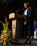 TMCC President Dr. Karin Hilgersom speaks during the TMCC Graduation held at Lawlor Events Center in Reno, Nevada on Friday, May 11, 2018.