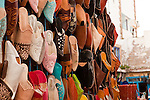 Colorful Moroccan shoes are one of the crafts that can be found along the streets of Essaouira.