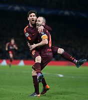 Barcelona's Lionel Messi celebrates scoring his side's first goal with Andres Iniesta<br /> <br /> Photographer Rob Newell/CameraSport<br /> <br /> UEFA Champions League Round of 16 1st Leg - Chelsea v Barcelona - Tuesday 20th February 2018 - Stamford Bridge - London<br />  <br /> World Copyright © 2017 CameraSport. All rights reserved. 43 Linden Ave. Countesthorpe. Leicester. England. LE8 5PG - Tel: +44 (0) 116 277 4147 - admin@camerasport.com - www.camerasport.com