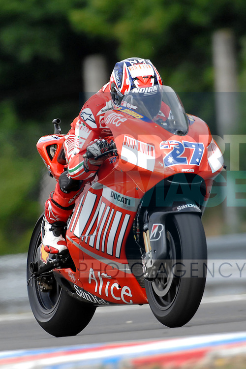 Australian Casey Stoner rides during the opening day at the Czech Republic Moto GP at the Brno circuit 17 August 2007