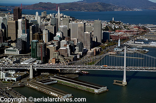 aerial photograph Bay Bridge Embarcadero San Francisco skyline