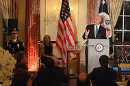 October 27, 2011  (Washington, DC)  Former Secretary of State Colin Powell speaks at the 50th Anniversary Celebration of the Diplomatic Rooms at the State Department in Washington, as Andrea Mitchell (seated left), NBC Chief Foreign Affairs Correspondent, looks on.  (Photo by Don Baxter/Media Images International)