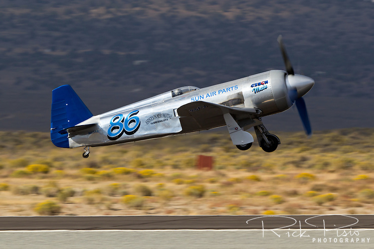 Race 86, Yak 11 Czech Mate, gets airborne for a heat race at the Reno National Championship Air Races