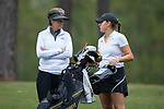 Monica Schumacher (right) chats with Wake Forest Demon Deacons head coach Dianne Dailey before teeing off on the fifth hole during second round action at the Ruth's Chris Tar Heel Invitational on October 14, 2017 in Chapel Hill, North Carolina. (Brian Westerholt/Sports On Film)