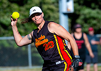 Action from the Wellington Softball Association senior women's section A final between Poneke and Newlands at Wakefield Park in Wellington, New Zealand on Saturday, 23 March 2019. Photo: Dave Lintott / lintottphoto.co.nz
