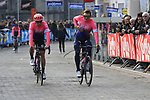 EF Education First team arrive at sign on before the 2019 Gent-Wevelgem in Flanders Fields running 252km from Deinze to Wevelgem, Belgium. 31st March 2019.<br /> Picture: Eoin Clarke | Cyclefile<br /> <br /> All photos usage must carry mandatory copyright credit (© Cyclefile | Eoin Clarke)