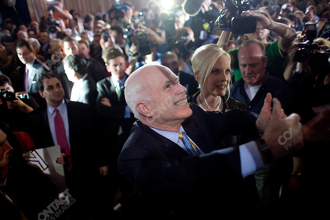 Senator John McCain (R-AZ), Repubican candidate for President, celebrated his victory in the Florida primary with his wife, Cindy, and daughter, Meghan. Senator Mel Martinez (R-FL), and Governor Charlie Crist were also in attendance at the victory party. Miami, Florida, January 29, 2008.