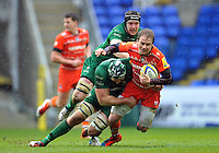 Matthew Tait of Leicester Tigers is double-tackled. Aviva Premiership match, between London Irish and Leicester Tigers on February 22, 2015 at the Madejski Stadium in Reading, England. Photo by: Patrick Khachfe / JMP