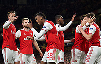 Celebrations after Joe Willock (28) of Arsenal scores a goal  during the UEFA Europa League match between Arsenal and Standard Liege at the Emirates Stadium, London, England on 3 October 2019. Photo by Andrew Aleks.