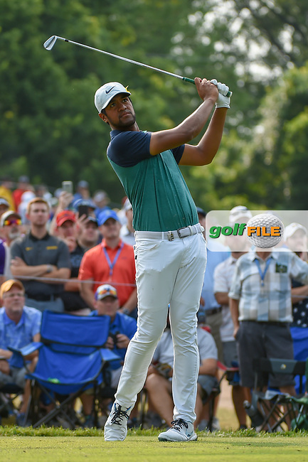 Tony Finau (USA) watches his tee shot on 6 during 4th round of the 100th PGA Championship at Bellerive Country Club, St. Louis, Missouri. 8/12/2018.<br /> Picture: Golffile | Ken Murray<br /> <br /> All photo usage must carry mandatory copyright credit (© Golffile | Ken Murray)