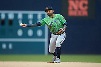 Gwinnett Braves second baseman Andres Blanco (13) makes a throw to first base against the Durham Bulls at Durham Bulls Athletic Park on April 20, 2019 in Durham, North Carolina. The Bulls defeated the Braves 11-3 in game one of a double-header. (Brian Westerholt/Four Seam Images)