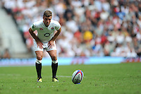 George Ford of England prepares to take a conversion attempt during the Old Mutual Wealth Cup match between England and Wales at Twickenham Stadium on Sunday 29th May 2016 (Photo: Rob Munro/Stewart Communications)