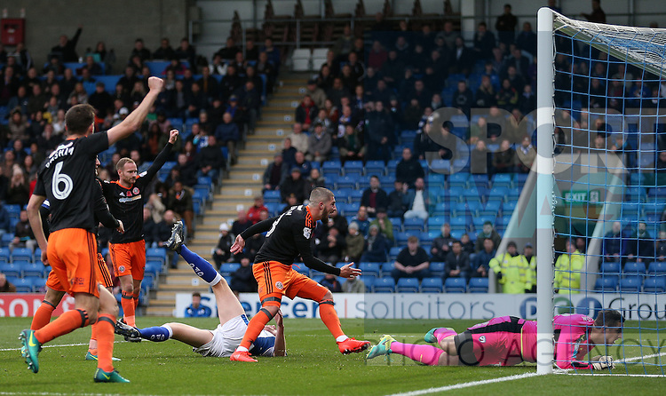Kieron Freeman of Sheffield Utd turns after equalising during the English League One match at the Proact Stadium, Chesterfield. Picture date: November 13th, 2016. Pic Simon Bellis/Sportimage
