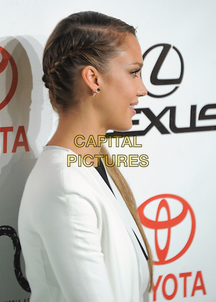 Jessica Alba.at The 2012 Environmental Media Awards held at Warner Brothers Pictures Studio in Burbank, California, USA, September 29th 2012..portrait headshot side ponytail plait plaited braid profile hair white jacket .CAP/DVS.©DVS/Capital Pictures.