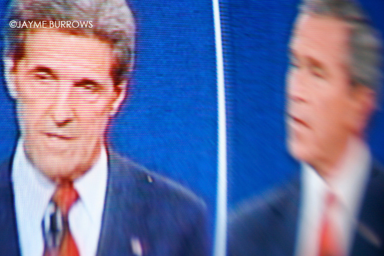 Image of John Kerry and George W. Bush during a 2004 debate shot with a Lensbabies© lens.