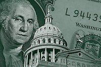 Budget Showdown Looms In Texas with Texas Capitol Dome, US currency, dollar banknote