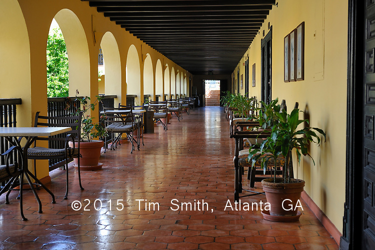 May 20, 2008  Old San Juan, Puerto Rico, USA<br /> <br /> A breakfast nook overlooks the main dining area in an open air courtyard from the second floor of the El Convento Hotel in Old San Juan, Puerto Rico.
