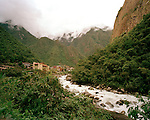 Peru, South America, southern hemisphere, Peruvian, Urabamba river, Aguas Calientes, Machu Picchu, cloud forest, lush, verdant, cloudy, Andes, Andean, clouds, green, river, small town, hiking, Incan trail, Inca, trek, trekking, mountain, mountainous, 8000 feet