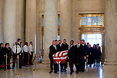 The casket of late United States Supreme Court Justice Antonin Scalia is carried into the Great Hall of the US Supreme Court for a private ceremony in Washington, DC on Friday, February 19, 2016. <br /> Credit: Jacquelyn Martin / Pool via CNP