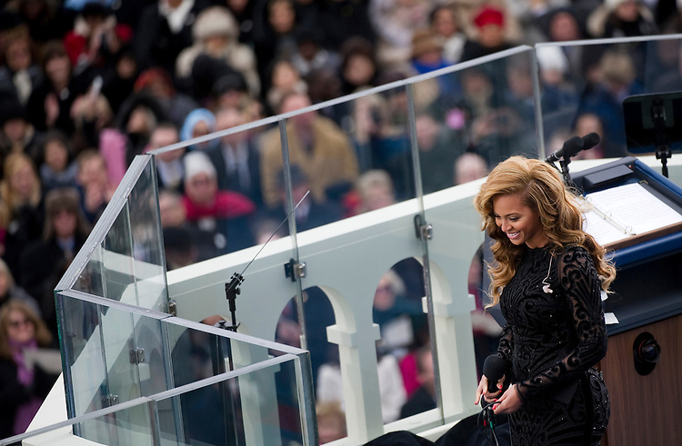 UNITED STATES - JANUARY 21: Singer Beyonce sings the National Anthem at the inauguration for U.S. President Barack Obama's second term of office. More than 600,000 people attended the event.(Photo By Chris Maddaloni/CQ Roll Call)
