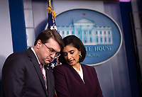 United States Secretary of Veterans Affairs (VA) Robert Wilkie talks to Seema Verma, Administrator, Centers for Medicare and Medicaid Services during a Coronavirus Task Force briefing on the COVID-19 pandemic in the Brady Press Briefing Room at the White House in Washington, DC, March 18, 2020, in Washington, D.C.<br /> Credit: Kevin Dietsch / Pool via CNP/AdMedia
