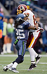 Seattle Seahawks cornerback Richard Sherman tackles Washington Redskins wide receiver Santana Moss at CenturyLink Field in Seattle, Washington on November 27, 2011.©2011 Jim Bryant Photo. All Rights Reserved.