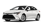 Stock pictures of low aggressive front three quarter view of a 2020 Toyota Corolla XLE 4 Door Sedan