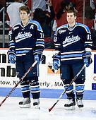Rob Bellamy (Maine - 16), Keif Orsini (Maine - 18) - The Boston University Terriers defeated the University of Maine Black Bears 1-0 (OT) on Saturday, February 16, 2008 at Agganis Arena in Boston, Massachusetts.