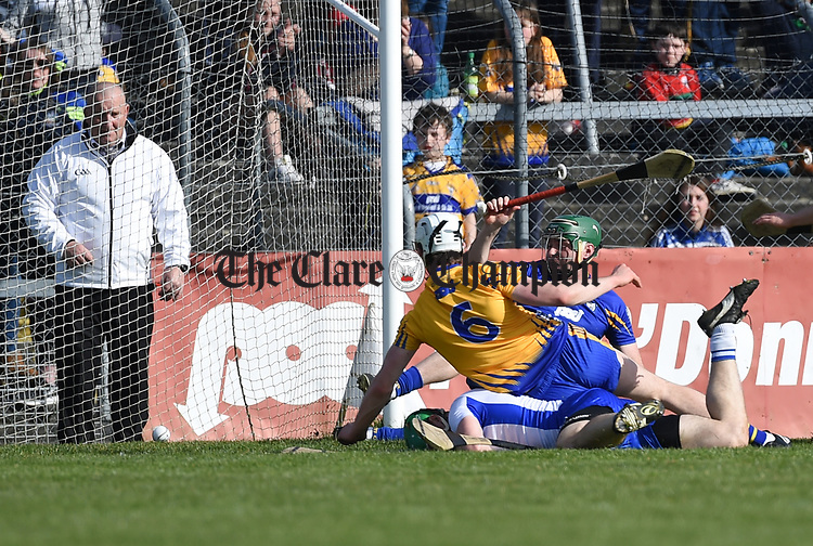 Tom Devine of Waterford scores his team's second goal against Clare during their National League game at Cusack Park. Photograph by John Kelly.