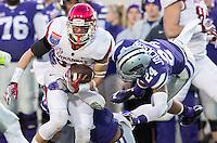 NWA Democrat-Gazette/JASON IVESTER <br /> Arkansas vs Kansas St, Liberty Bowl<br /> Arkansas wide receiver Drew Morgan (80) tries to get away from Kansas State cornerback Nate Jackson during the third quarter on Saturday, Jan. 2, 2016, at the Liberty Bowl in Memphis, Tenn.