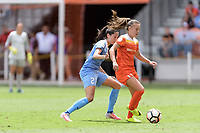 Houston, TX - Saturday April 15, 2017: Christen Press and Andressa battle for control of the ball during a regular season National Women's Soccer League (NWSL) match won by the Houston Dash 2-0 over the Chicago Red Stars at BBVA Compass Stadium.