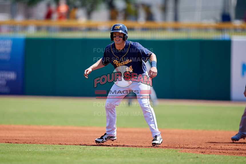 Montgomery Biscuits left fielder Nick Solak (14) leads off first base during a game against the Biloxi Shuckers on May 8, 2018 at Montgomery Riverwalk Stadium in Montgomery, Alabama.  Montgomery defeated Biloxi 10-5.  (Mike Janes/Four Seam Images)