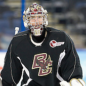 Chris Venti (BC - 30) - The Boston College Eagles practiced on Wednesday, April 4, 2012, during the 2012 Frozen Four at the Tampa Bay Times Forum in Tampa, Florida.