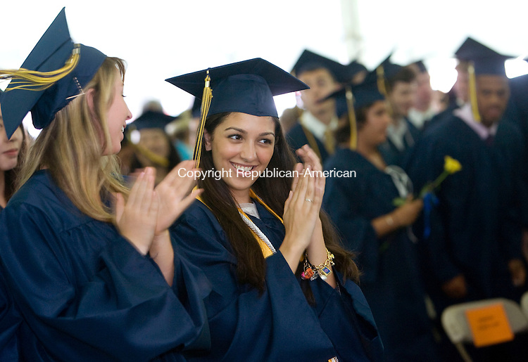 CHESHIRE, CT - 05 JUNE 2010 -060510JT06-<br /> Cheshire Academy graduates applaud during commencement exercises on Saturday at the school. The event marked the academy's 216th year.<br /> Josalee Thrift Republican-American