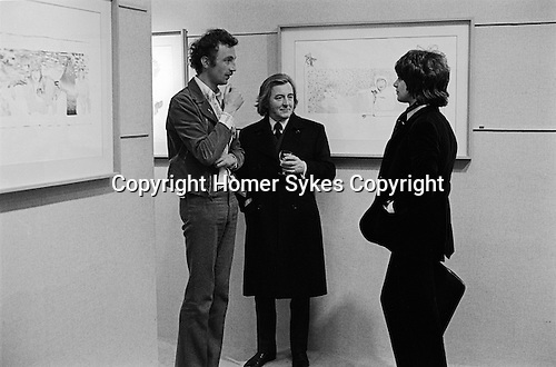 Patrick Procktor artist London  April 22nd 1969. PP opening night of show at the Redfern Gallery Cork street. With  Richard Buckle ballet critic and talking to Gervase Griffiths.