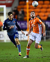 Blackpool's Clark Robertson competes with Charlon Athletic's Michael Zyro<br /> <br /> Photographer Richard Martin-Roberts/CameraSport<br /> <br /> The EFL Sky Bet League One - Blackpool v Charlton Athletic - Tuesday 13th March 2018 - Bloomfield Road - Blackpool<br /> <br /> World Copyright &not;&copy; 2018 CameraSport. All rights reserved. 43 Linden Ave. Countesthorpe. Leicester. England. LE8 5PG - Tel: +44 (0) 116 277 4147 - admin@camerasport.com - www.camerasport.com